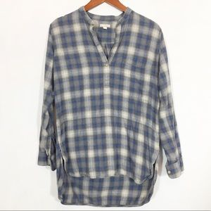 Gap Plaid Flannel Popover Tunic High Low Hem S